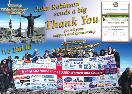 Thank you for sponsorship for Kilimanjaro
